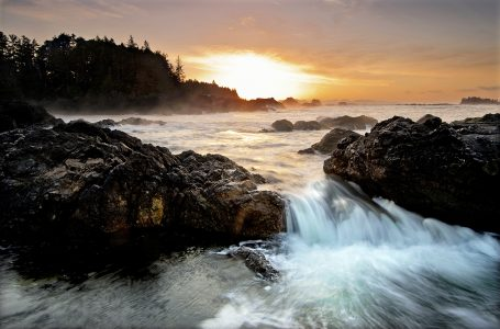 Sunrise in Ucluelet at high tide on the Pacific, British Columbia, Vancouver coast and mountain region, Canada