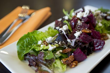 beet salad is photographed at a Doubletree by Hilton Hotel, Kamloops, British Columbia, Canada