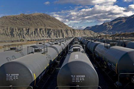 Storage train cars wait at the Ashcroft terminal, Ashcroft, British Columbia, Canada