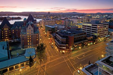 City of Victoria at dusk, British Columbia, Vancouver coast and mountain region, Canada