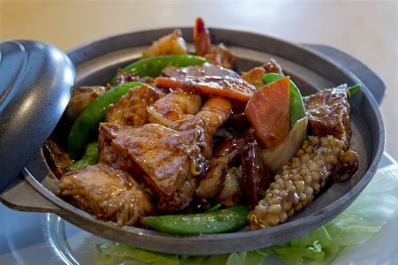 Chinese dishes photographed during a commercial shoot for Moon Wok restaurant in Kamloops, British Columbia, Thompson Okanagan region, Canada