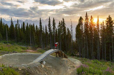 A mountain biker crests a feature on a bike park at sunset in Valemount, British Columbia, Canada, Thompson Okanagan region