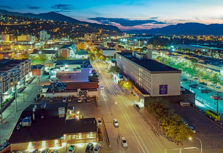 Kamloops city centre at dusk during a commercial shoot for Delta Hotels, British Columbia, Canada