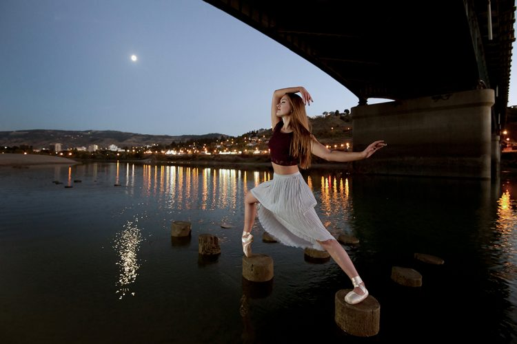 A stunning ballerina performs during a conceptual session for a commercial project, Kamloops, British Columbia, Canada