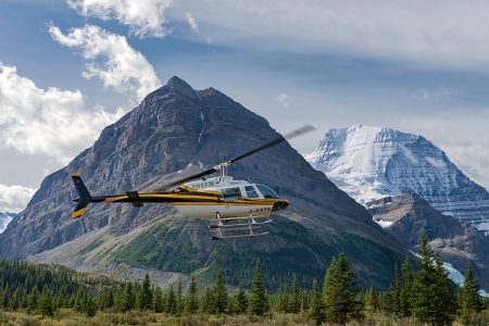 image of a commercial helicopter and charter business at Berg Lake, Thompson Okanagan region, British Columbia, Canada