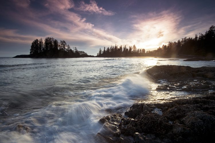 Sunset at Schooner's Cove, between Tofino and Ucluelet, Vancouver Island, British Columbia, Canada