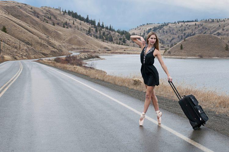 A young ballerina poses for a conceptual image near Kamloops, British Columbia, Thompson Okanagan region, Canada