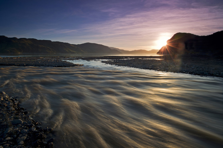 Sunset over Kamloops Lake and the Tranquille river near Kamloops, British Columbia, Canada,