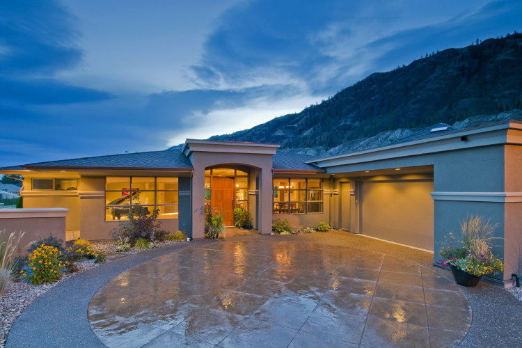 House near Kamloops, British Columbia, Canada at dusk,