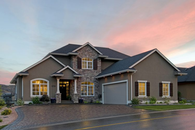 Image of a beautiful home at sunset, photographed for a developer in Kamloops, British Columbia, Canada