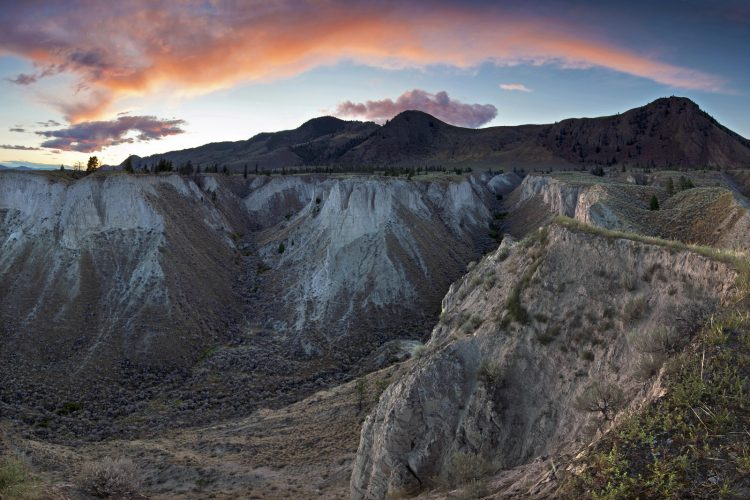Badlands area near Kamloops at sunset, Thompson Okanagan region of BC, Canada