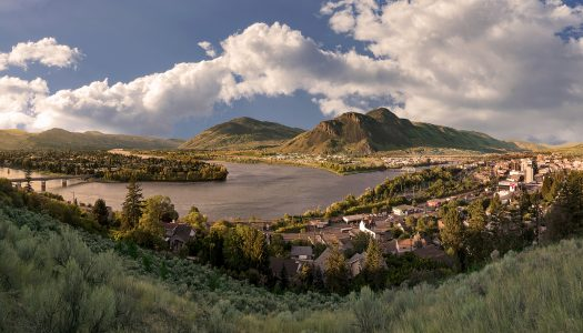 The meeting of the north and south Thompson rivers on a clear spring evening at Kamloops, British Columbia, Thompson Okanagan region, Canada