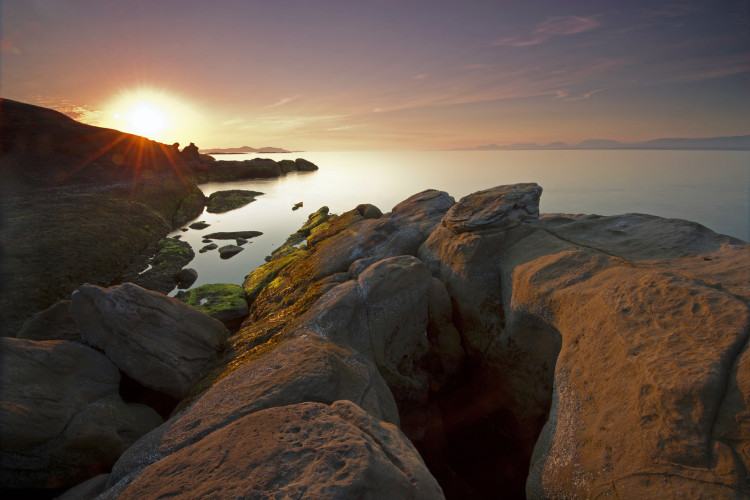 Hornby island coast at sunrise, British Columbia, Vancouver island, Canada