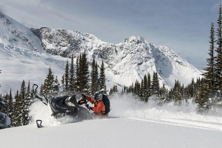 Snowmobiling south of Valemount, Thompson Okanagan region, British Columbia, Canada