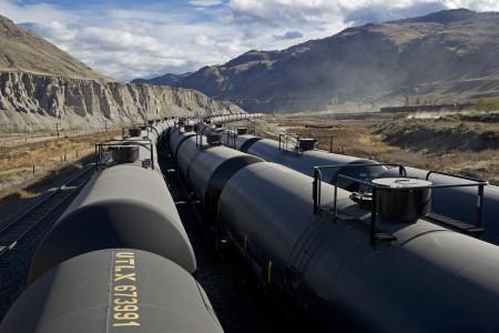 Trains in the Ashcroft terminal, Thompson Okanagan region, British Columbia, Canada,