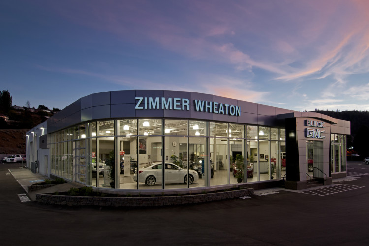 car dealership at dusk, Kamloops, BC