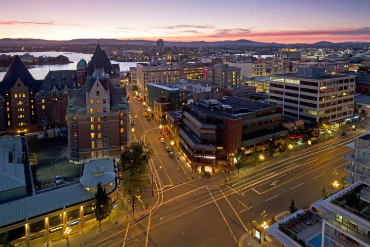 Downtown Victoria, British Columbia, Canada, sunset, city, ocean,