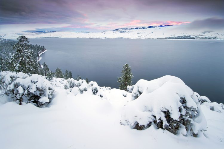 landscape of Nicola Lake at sunset, winter, Thompson Okanagan region of BC, Canada