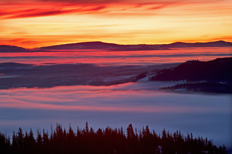 Sunrise on Greenstone mountain, west of Kamloops, Thompson Okanagan region, British Columbia, Canada,