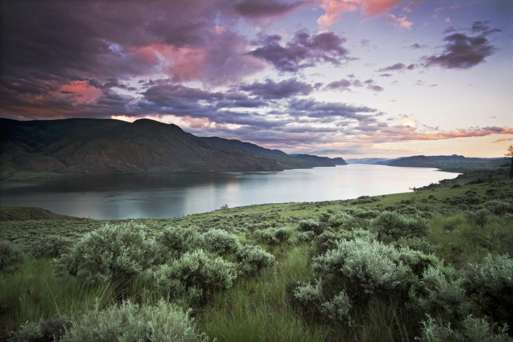 Kamloops lake, looking east at sunset over the grasslands. Near Kamloops, Thompson Okanagan region, British Columbia, Canada