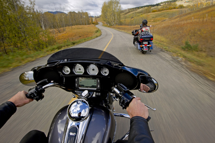 Motorcycles on a country road near Kamloops, British Columbia, fall, autumn