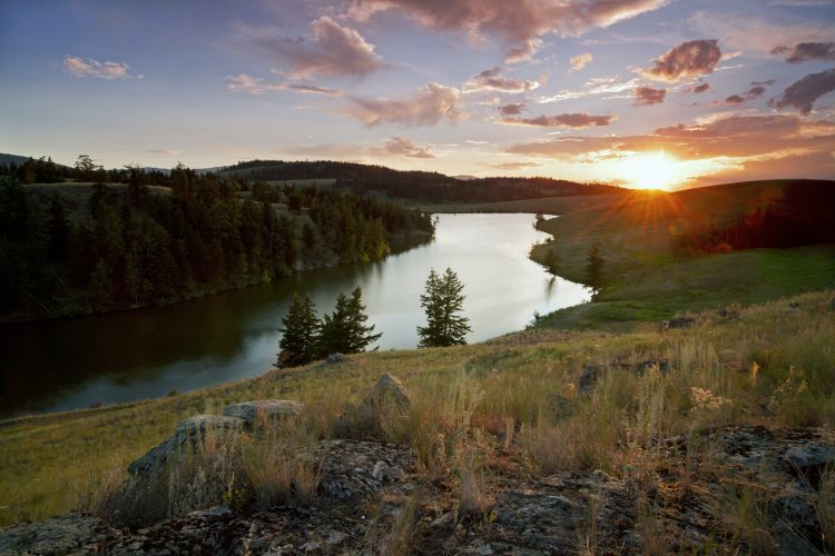 Edith Lake at sunset, near Kamloops, Thompson Okanagan region of BC, Canada