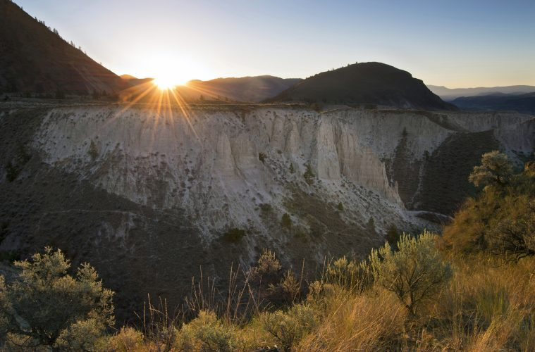 Badlands area near Kamloops at sunrise, Thompson Okanagan region of BC, Canada
