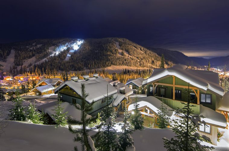 The village of Sun Peaks at night, near Kamloops, Thompson Okanagan region, British Columbia, Canada