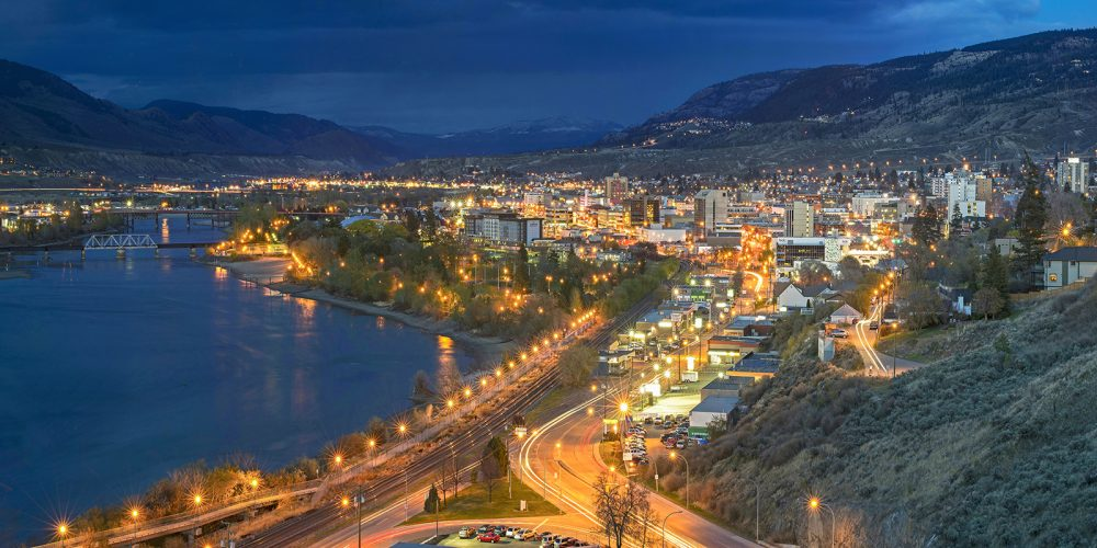 The city centre of Kamloops, BC at dusk, British Columbia, Thompson Okanagan region, Canada