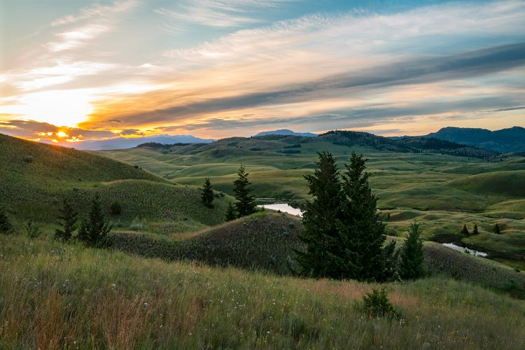 The Lac Du Bois grasslands come alive at sunrise just north of Kamloops during a commercial shoot, British Columbia, Canada