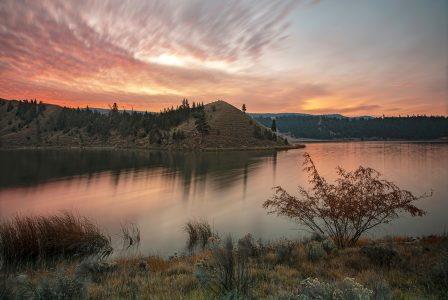 Trapp lake, south of Kamloops is photographed at sunrise for a commercial venture, British Columbia, Canada
