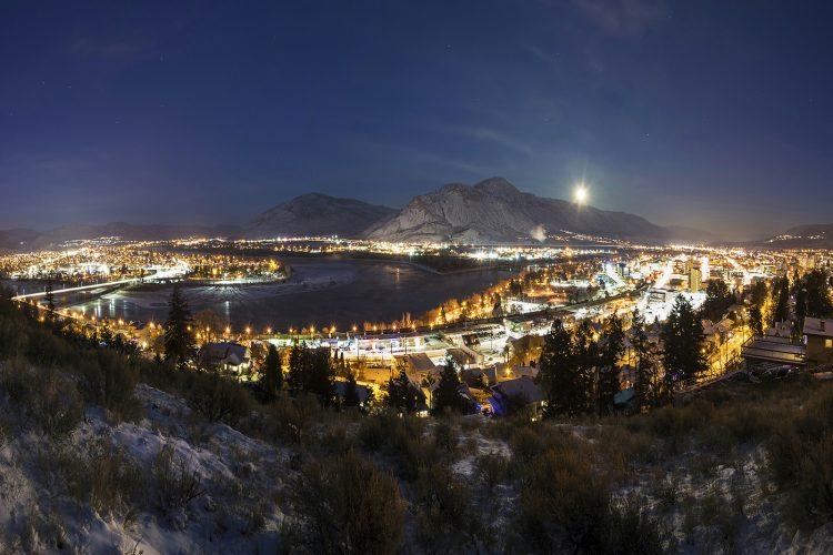 Cityscape image of Kamloops at night with cityh lights, British Columbia, Thompson Okanagan region, Canada