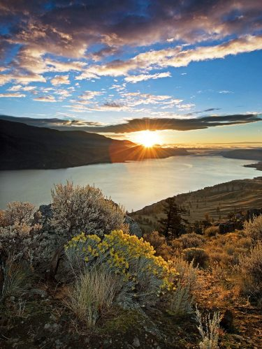 Kamloops lake and sage brush at sunrise during a commercial shoot, British Columbia, Canada