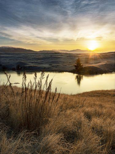 Landscape of a sunrise at Lac Du Bois Grasslands, north of Kamloops, British Columbia, Thompson Okanagan region, Canada