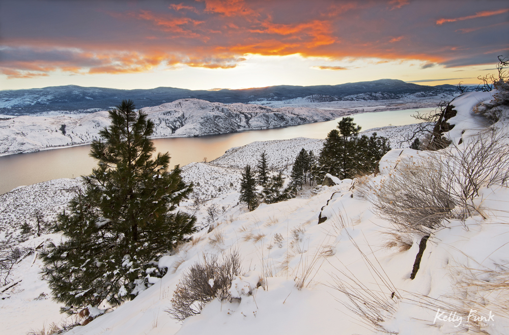 Landscape of Kamloops Lake at sunset and a fresh snowfall, Kamloops, British Columbia, Thompson Okanagan region, Canada