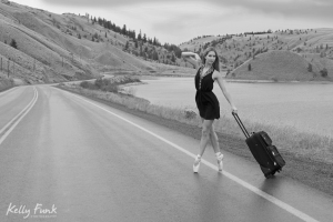 ballet, ballerina, highway, suitcase, Kelly Funk, professional photographer, commercial photographer Kamloops, British Columbia, Canada