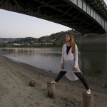 ballerina on the Thompson river, Kamloops, British Columbia, Canada, Kelly Funk, professional commercial photographer, Overlander bridge, Hailey Cretian, dancer