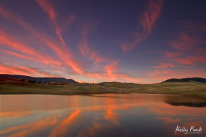 A dramatic sunset paints the sky in the Lac du Bois grasslands, just north of Kamloops, British Columbia, Thompson Okanagan region, Canada, Kelly Funk, commercial photographer, professional