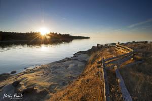 Hornby Island, fence, grasslands, British Columbia, Canada landscape, sunrise, Kelly Funk, commercial photographer, professional, Kamloops, Thompson Okanagan region