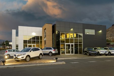 Ford Lincoln dealership in Kamloops photographed on a beautiful night for a commercial shoot showcasing archtecture, British Columbia, Canada