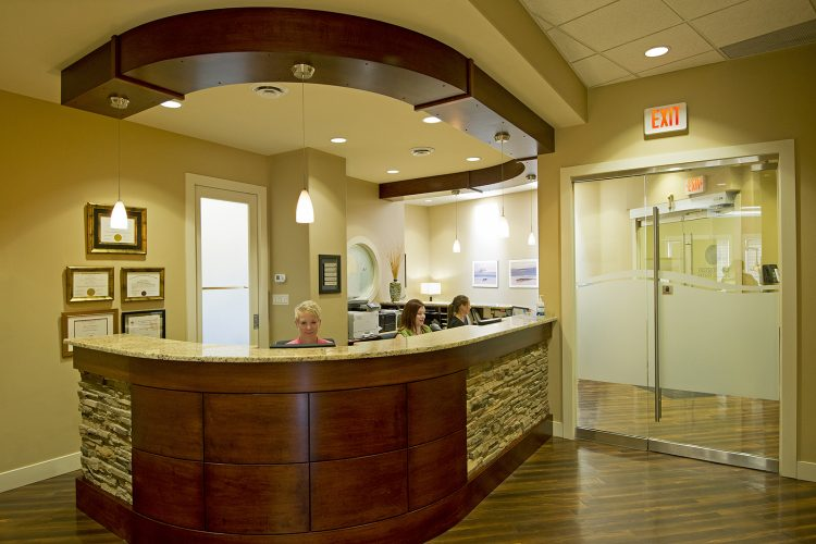 Front office space of a dentist office in Kelowna, British Columbia, Thompson Okanagan region, Canada