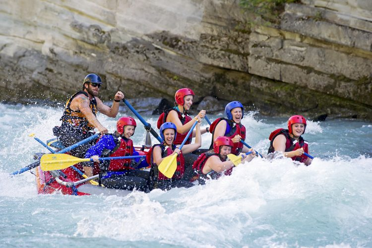 Rafting the Fraser River near Valemount and Mount Robson, British Columbia, Canada