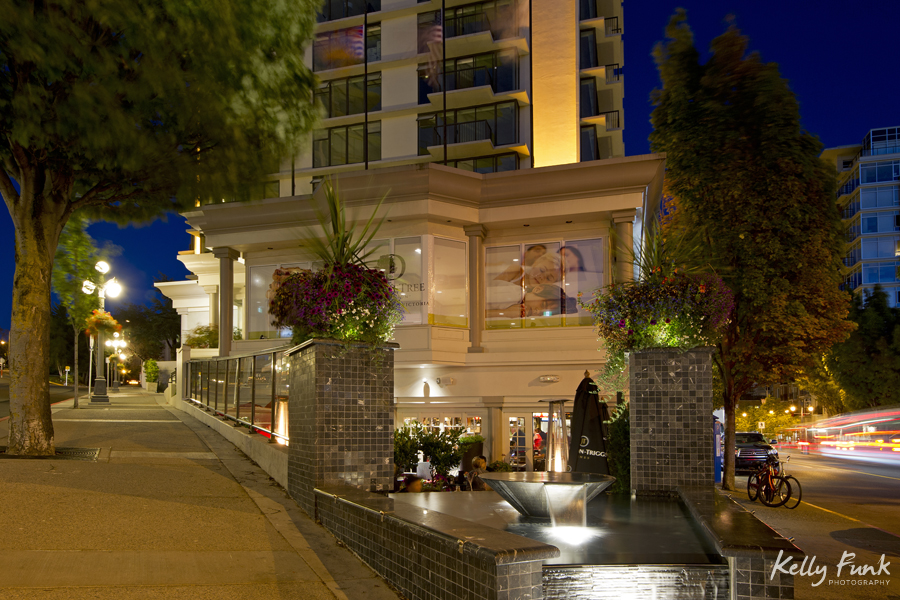 dusk view of patio and street appeal, working for Double Tree Hilton, commercial photographer, Kamloops photographer, professional, promotional, Kelly Funk, British Columbia, Canada