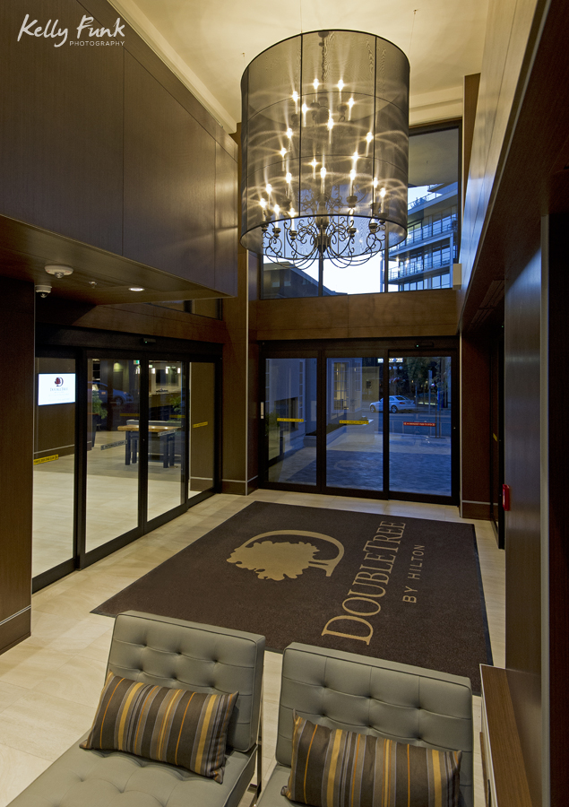 Entrance and shandelier, working for Double Tree Hilton, commercial photographer, Kamloops photographer, professional, promotional, Kelly Funk, British Columbia, Canada