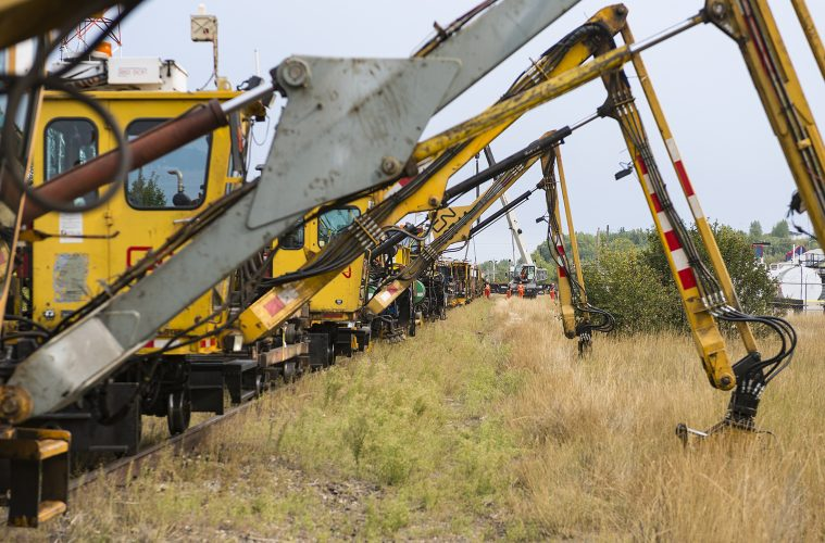 track repair machinery and CN workers in Vanderhoof, British Columbia, Canada