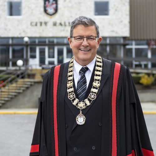 The new mayor of Kamloops, Ken Christian, during a portrait session outside city hall, Kamloops, British Columbia, Canada