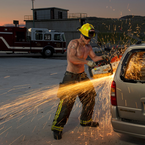 2016 Kamloops Firefighters Calendar, portrait, environment, Kamloops, British Columbia, Canada,  Nikon Canada, fireman, man, machine