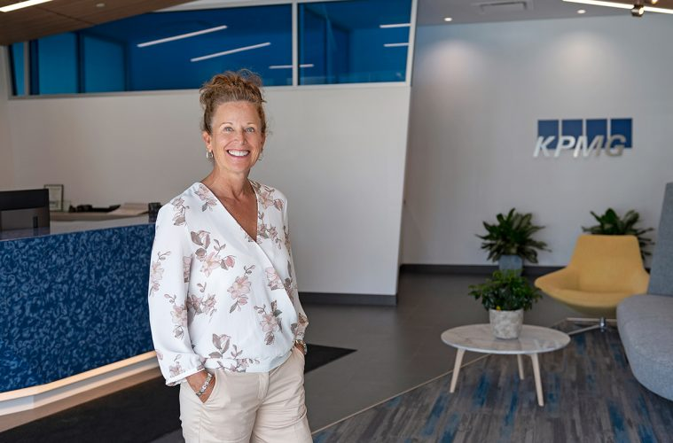 Portrait of an office manager at KPMG accounting, Kamloops, British Columbia, Canada