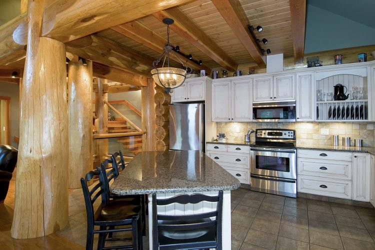 commercial image of a log home's kitchen near Kamloops, British Columbia, Canada - Kelly Funk -