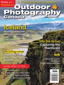 Cover image for Outdoor Photography Canada magazine from my trip to Iceland